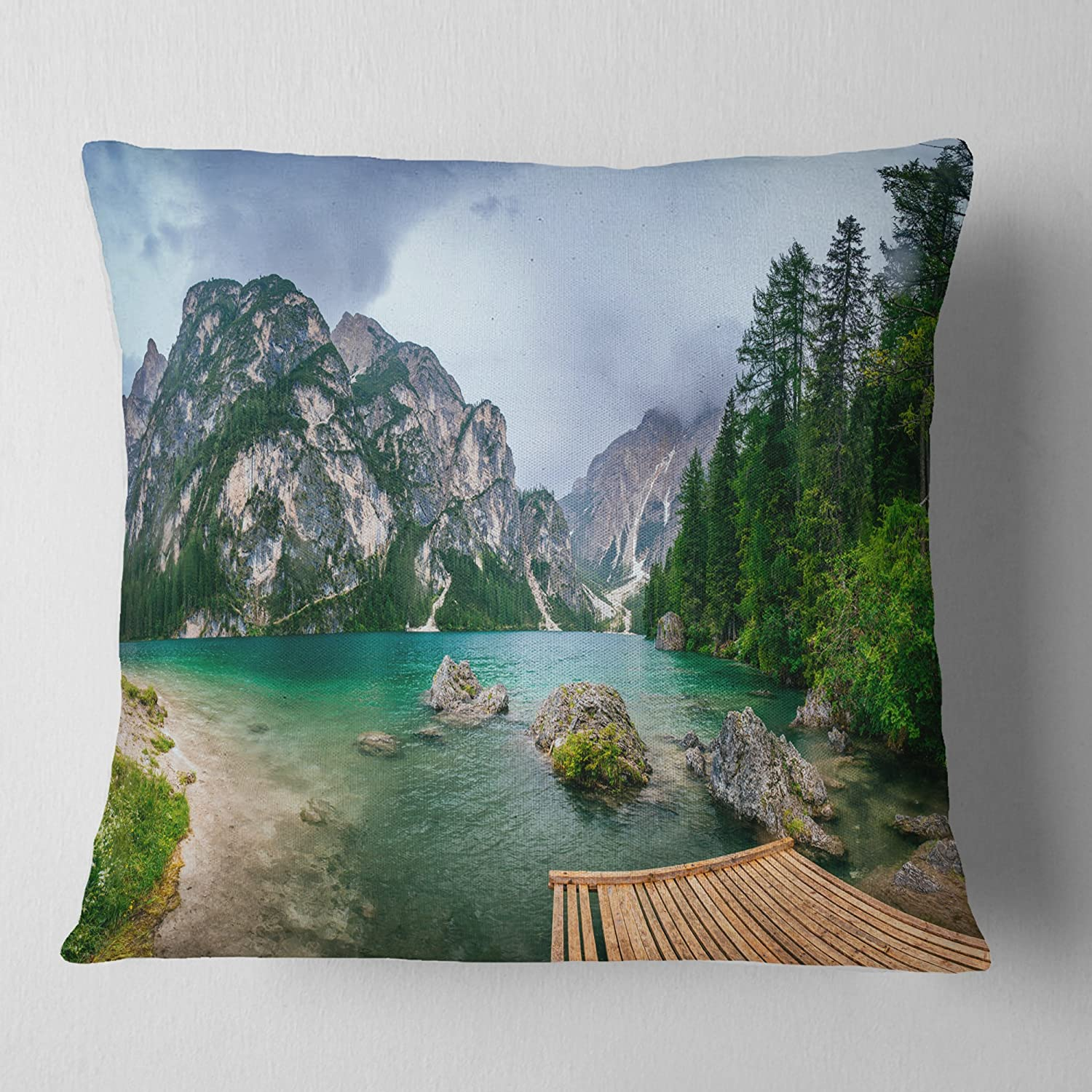 in Sofa Throw Pillow 26 in Designart CU8164-26-26 Lake Between Mountains Landscape Photography Cushion Cover for Living Room x 26 in