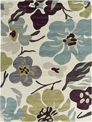 Surya Lava LVA-8018 Contemporary Hand Tufted 100 Polyester Antique White 8 x 10 6 Floral Area Rug