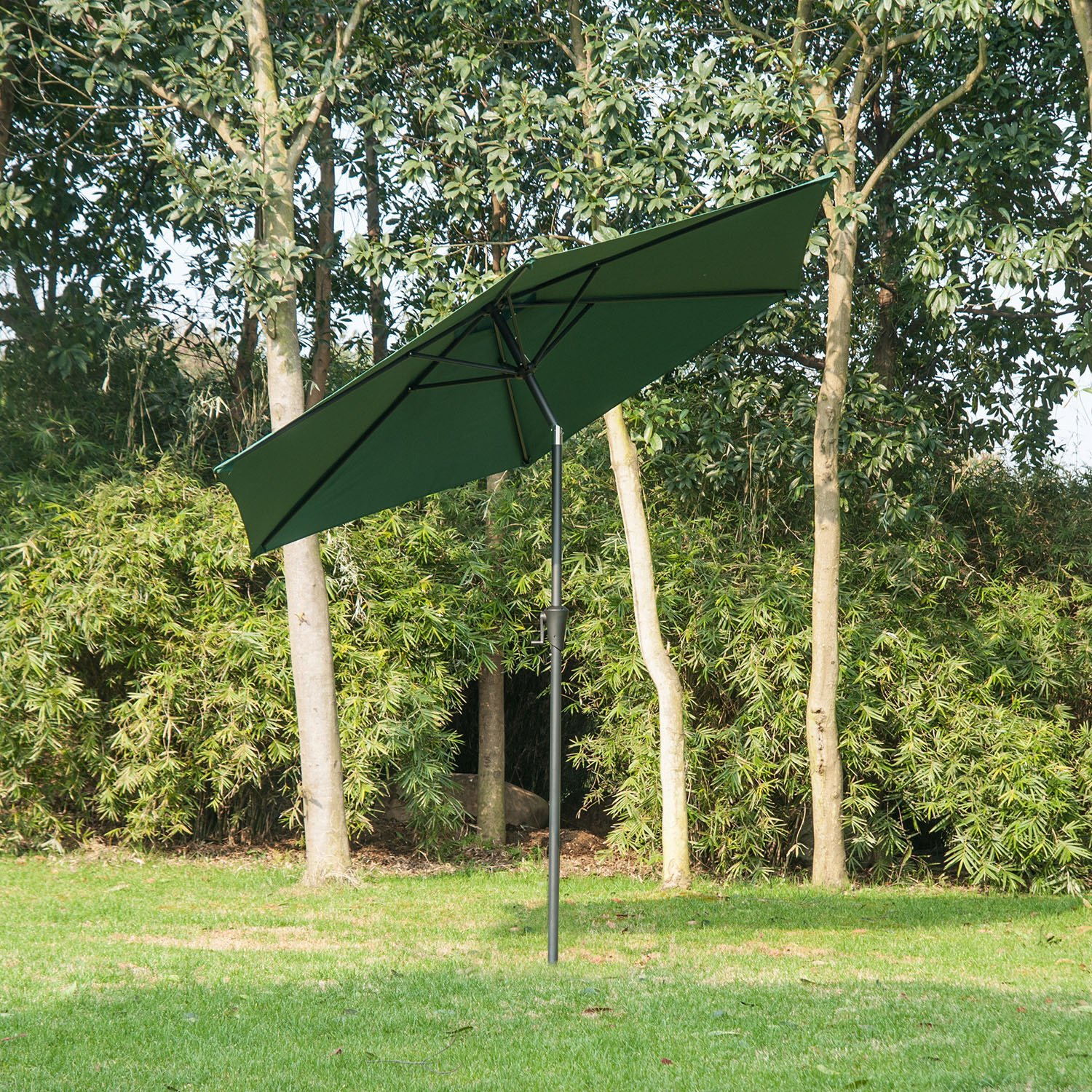 Outsunny 840-061GN Outdoor Aluminum Patio Market Umbrella, 9-Feet Deep Green