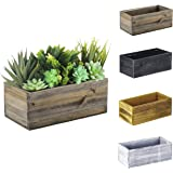 "CYS EXCEL Natural Brown Wood Rectangle Planter Box with Leak-Proof Plastic Liner (H:4"" Open:10""x5"") 
