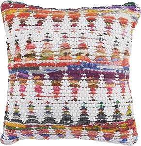"LR Home Multicolored Chindi Chevron Throw Pillow, 20"" x 20"", White/Multi"