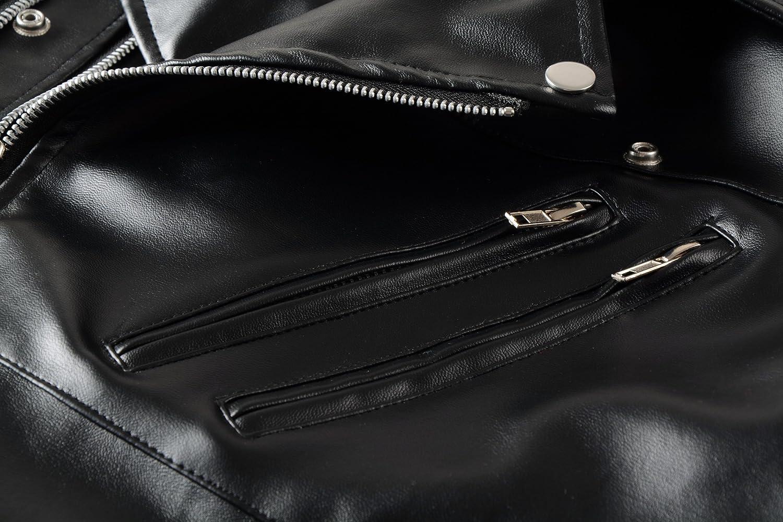 Benibos Mens Causal Belted Design Slim Pu Leather Biker Zipper Jacket Coat
