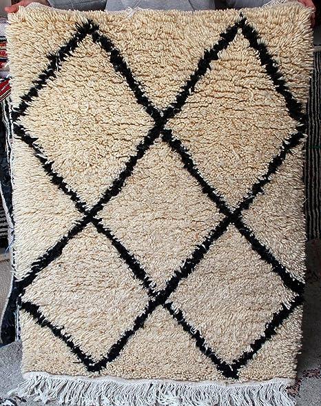 Amazon.com: Beni Ourain alfombra marroquí auténtico hecho a ...