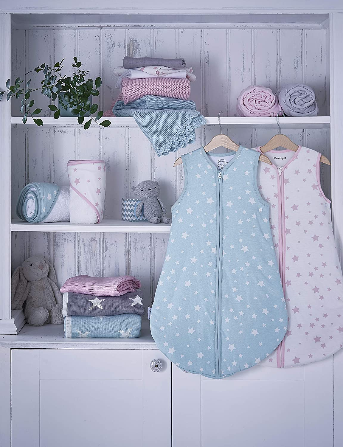 Silentnight Safe Nights Crib Fitted Sheets Pink Star Pack of 2
