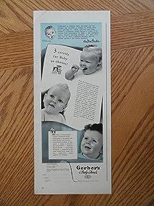 """Gerber's baby foods. Print ads. 6""""x14"""" Illustration,(3 cereals for baby to choose)Original Vintage 1941 Life Magazine Illustration"""