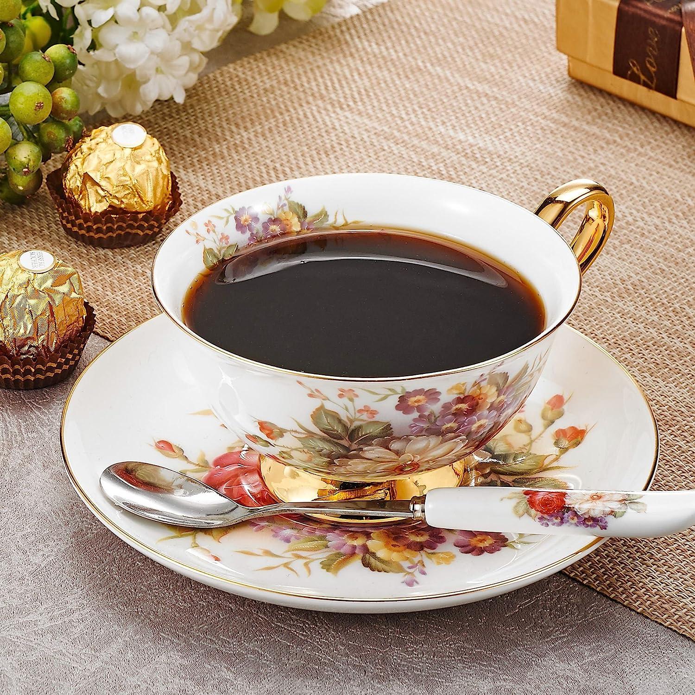 200ml Panbado Set di Tazza e Piattino Bone China Tazzine da Caff/è Tazze da t/è Servizi da Caff/è Mugs in Porcellana Coffee Cup Fiore Set 1 Pezzi 1 Tazza 1 Piattino 1 Cucchiao