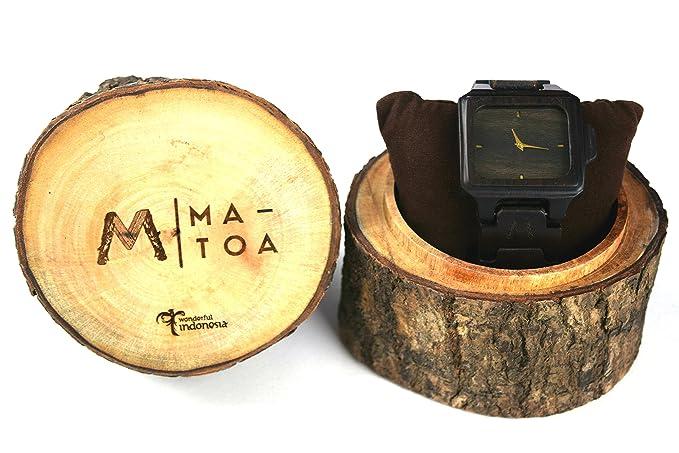 Reloj de madera para hombres y mujeres – Rote Natural madera de ébano grano – Muñeca