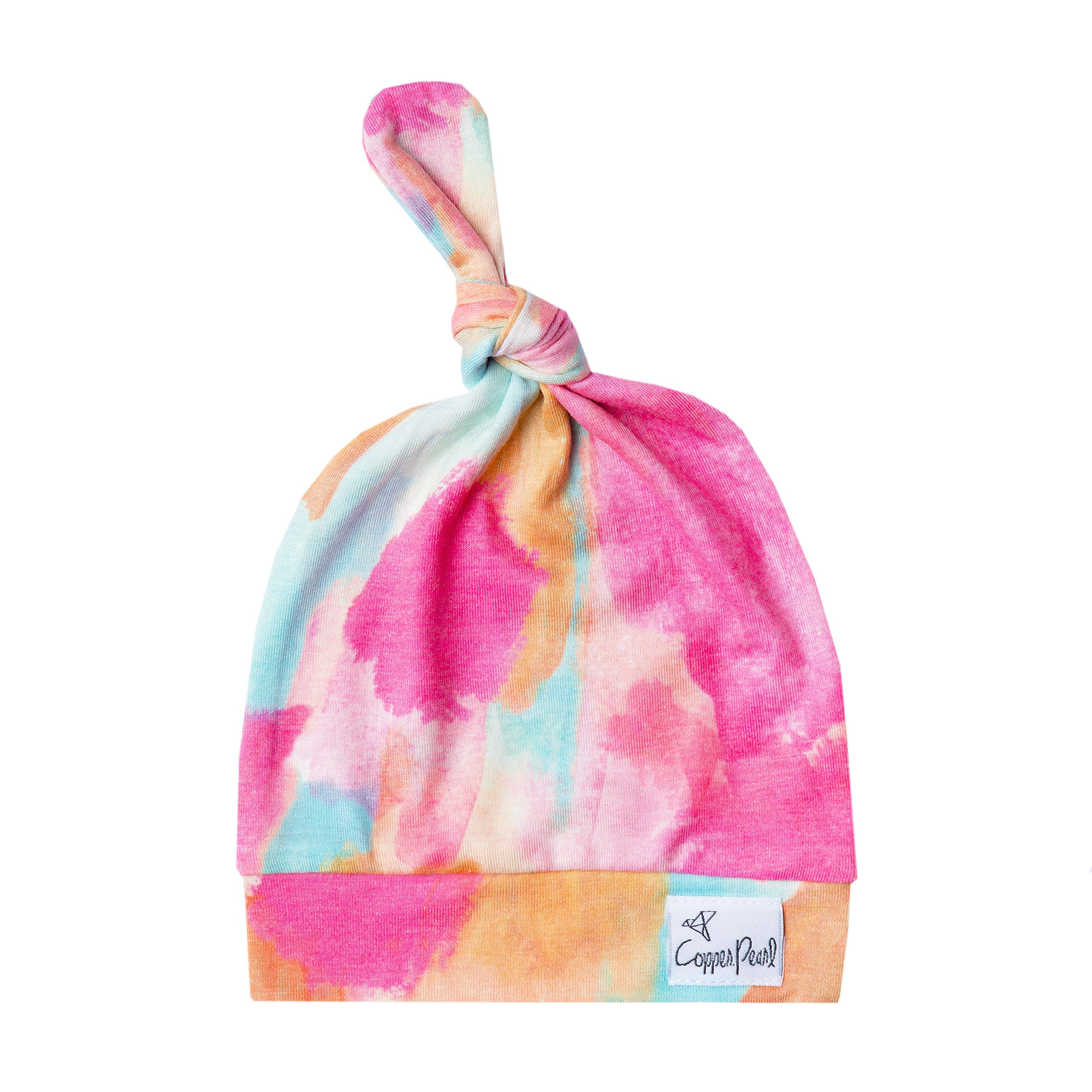 """Baby Beanie Hat Top Knot Stretchy Soft for Girl """"Monet"""" by Copper Pearl"""
