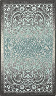 product image for Maples Rugs Pelham Vintage Kitchen Rugs Non Skid Accent Area Carpet [Made in USA], 2'6 x 3'10, Grey/Blue, Model:AG4055402