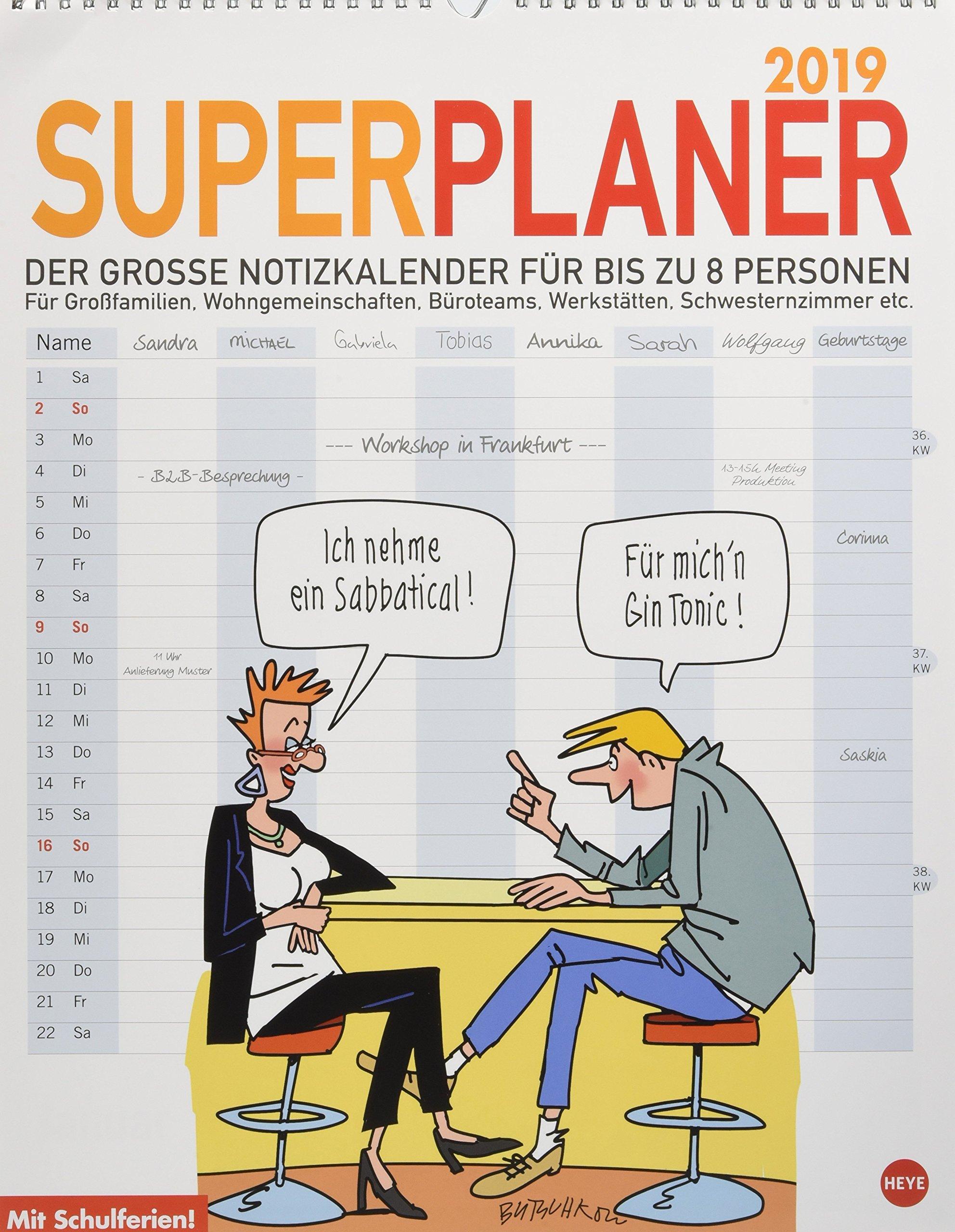Butschkow Superplaner - Kalender 2019: Der grosse Notizkalender für bis zu acht Personen.