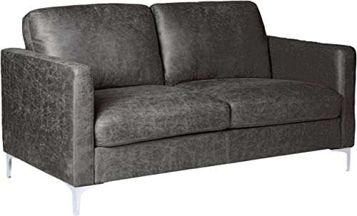 Homelegance Breaux Modern Track Arm Loveseat with Chrome Legs Accents, Gray