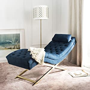 Safavieh Home Monroe Glam Navy Velvet and Brass Chaise Lounge Chair