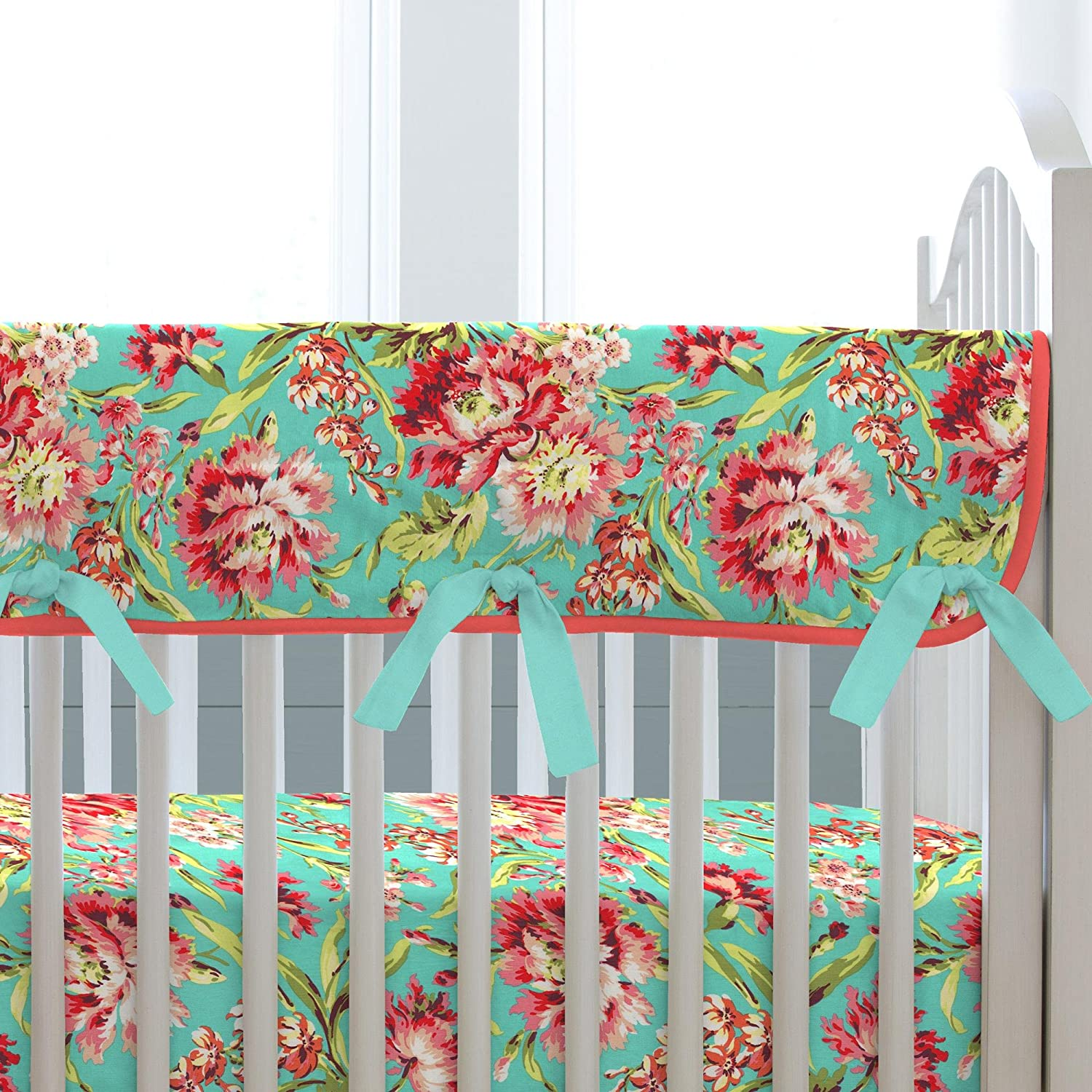 Carousel Designs Coral and Teal Floral Crib Rail Cover