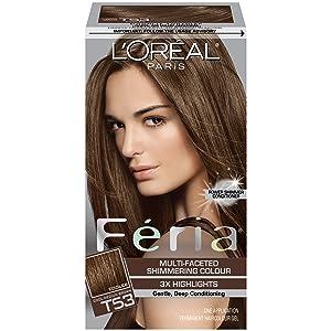 L'Oreal Paris Feria Multi-Faceted Shimmering Permanent Hair Color, T53 Moonlit Tortoise (Cool Medium Brown), Pack of 1, Hair Dye