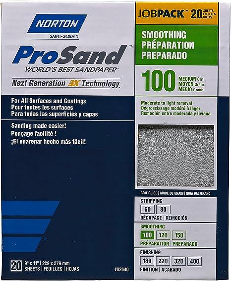 "100 PC. BOX NORTON 9/"" X 11/"" PROSAND SANDPAPER 150 GRIT"