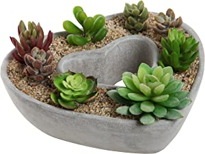 MyGift Cut Out Heart Shaped Design Gray Cement Outdoor Plant Pot Flower Planter/Decorative Centerpiece Bowl