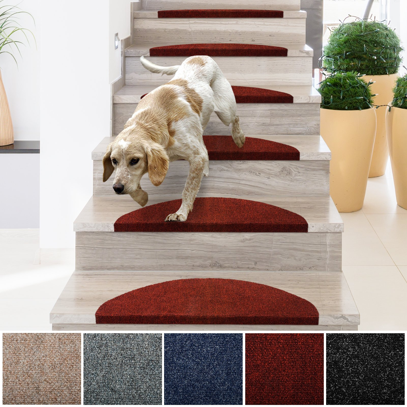 casa pura Stair Treads | Non-Slip Indoor Stair Protectors | Set of ...
