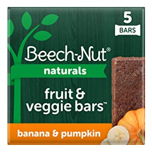 Beech-Nut Naturals Fruit and Veggie Bars, Stage 4, Banana & Pumpkin, 3 Simple Ingredients (Pack of 8 boxes, 5 count each)