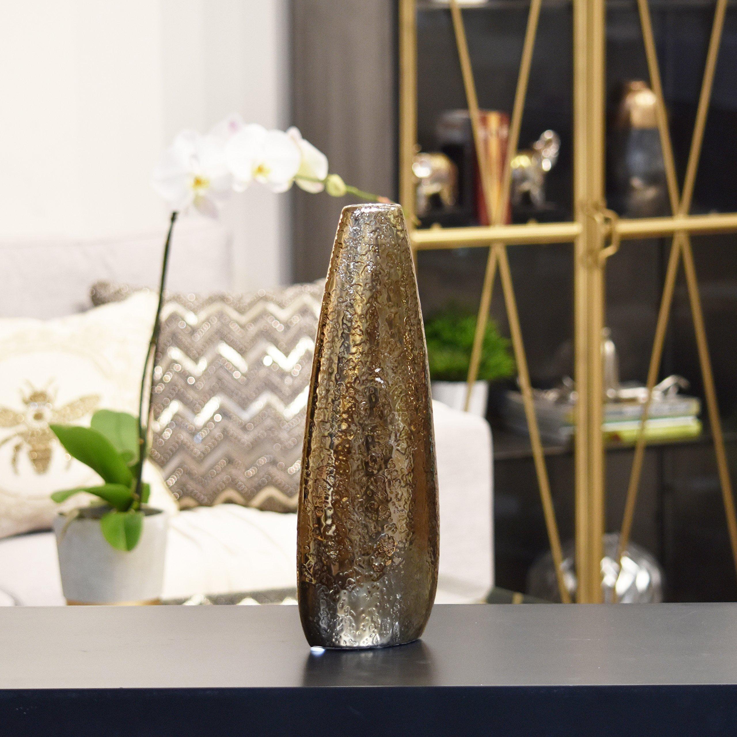 UTC 25001 Red Ceramic Vase with Golden Bottleneck Finish