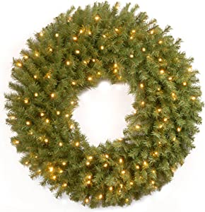 National Tree Company Pre-lit Artificial Christmas Wreath | Includes Pre-strung LED Lights | Norwood Fir - 30 Inch