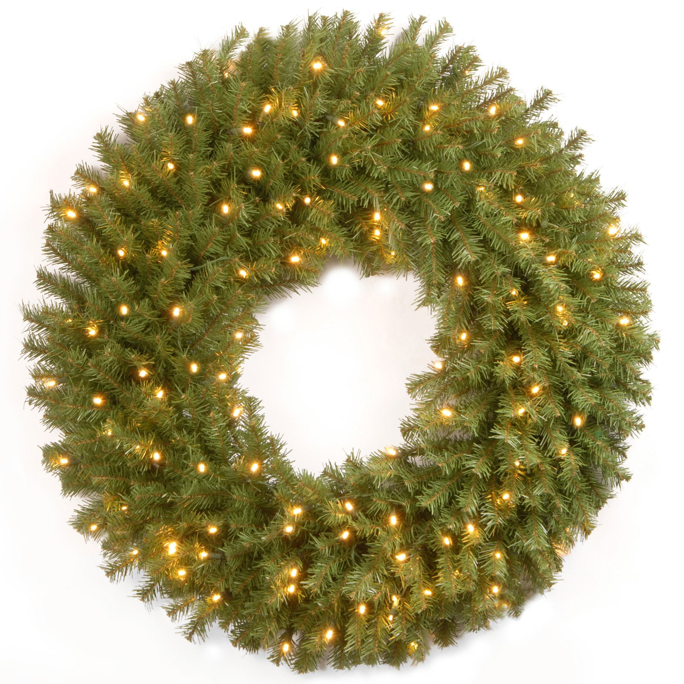 National Tree 30 Inch Norwood Fir Wreath with 100 Battery Operated LED Lights (NF3-308-30WB-1)