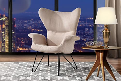 Accent Chair for Living Room, Linen Arm Chair with Natural Wooden Legs Beige