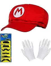 Balinco Super Mario Mütze rot im Komplettset mit weißen Handschuhen und Klebe-Bärten für Erwachsene und Kinder Karneval Fasching Motto Party Verkleidung Kostüm Mützen Hut Cap Herren Damen Kappe