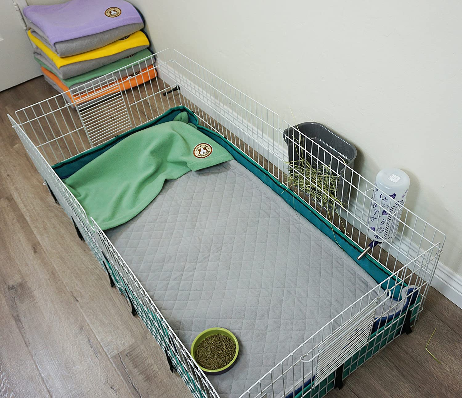 Midwest Waterproof Available Various Cage Sizes GuineaDad Guinea Pig Fleece Cage Liner Burrowing Pocket Sleeve Extra Absorbent Antibacterial Bamboo Purple