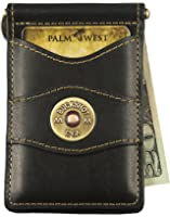Palm West Leather Minimalist Leather Money Clip Wallet with RFID (Natural Ostrich Print Leather, Fly Fisherman Medallion)