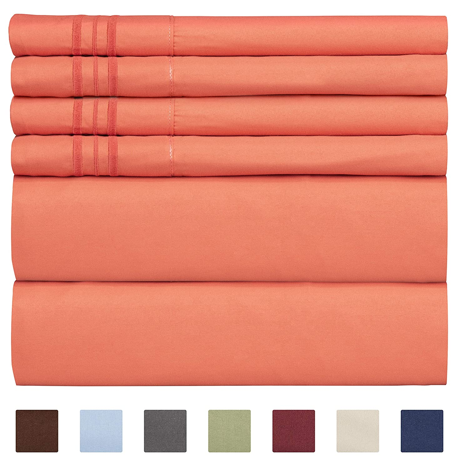 Queen Size Sheet Set - 6 Piece Set - Hotel Luxury Bed Sheets - Extra Soft - Deep Pockets - Easy Fit - Breathable & Cooling Sheets - Wrinkle Free - Comfy - Coral Sheets - Queens Sheets - 6 PC
