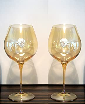 16c8b8d3ca81 Image Unavailable. Image not available for. Colour  AMBER WINE SOMMELIER SET  OF 2 BORMIOLI GLASSES WITH SILVER PLATED ROSE DECORATION
