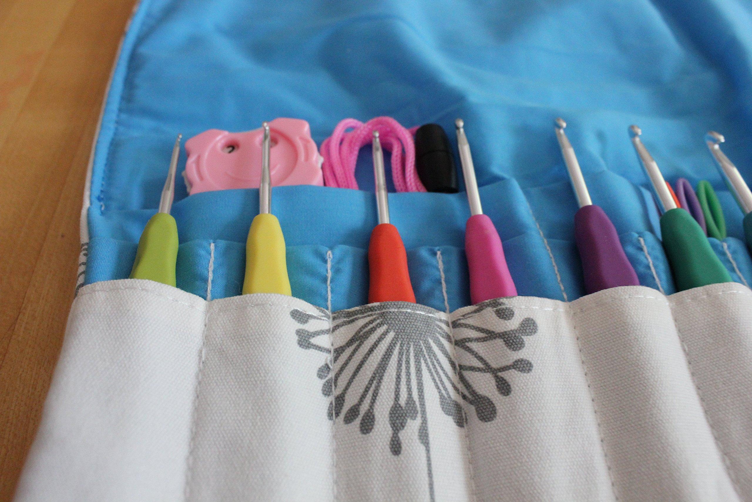 Sparkling Pumpkin Crochet Set - Ergonomic Crochet Hook Set with Multiple Accessories - Blue Floral Hook Case, Yarn Needles, Stitch Markers, Measuring Tape & More! (36 Piece Set, Dandelion)