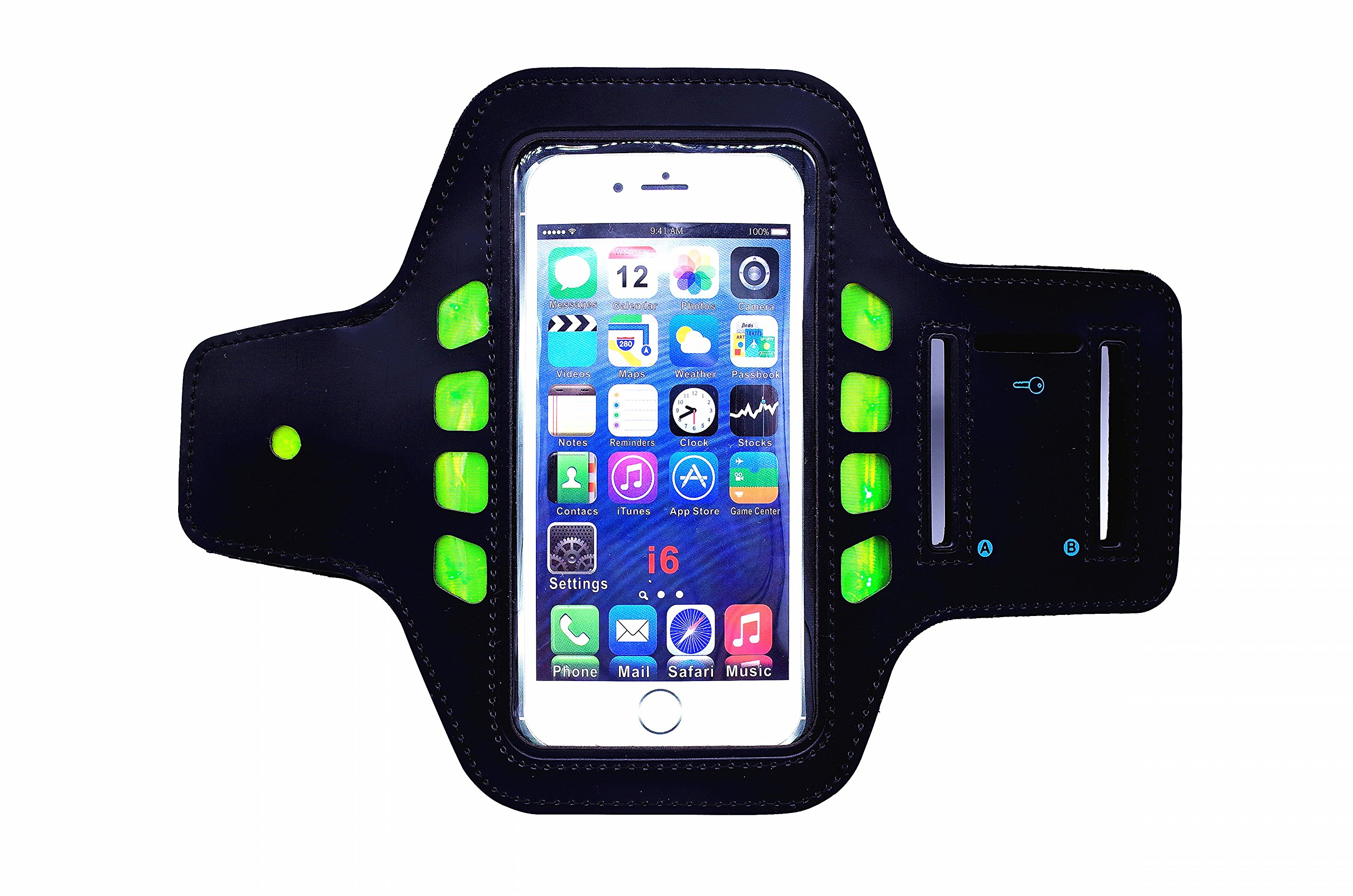 """L&X SPORTS Updated LED Cell Phone Sports Armband for Running [3 Modes LED] - One Size Fits Most Devices (4.7"""" or Smaller) - Lightweight,Sweat/Water Proof & Key Pocket,Room for Card/Cash, Adjustable by L&X SPORTS"""