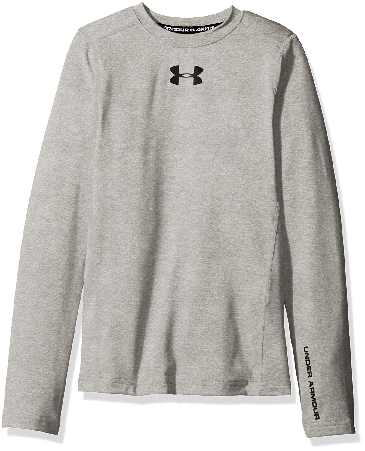 Pitch Gray////Black Under Armour Boys ColdGear Armour Crew Youth