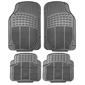 FH Group F11305GRAY Gray All Weather Floor Mat, 4 Piece (Full Set Trimmable Heavy Duty)