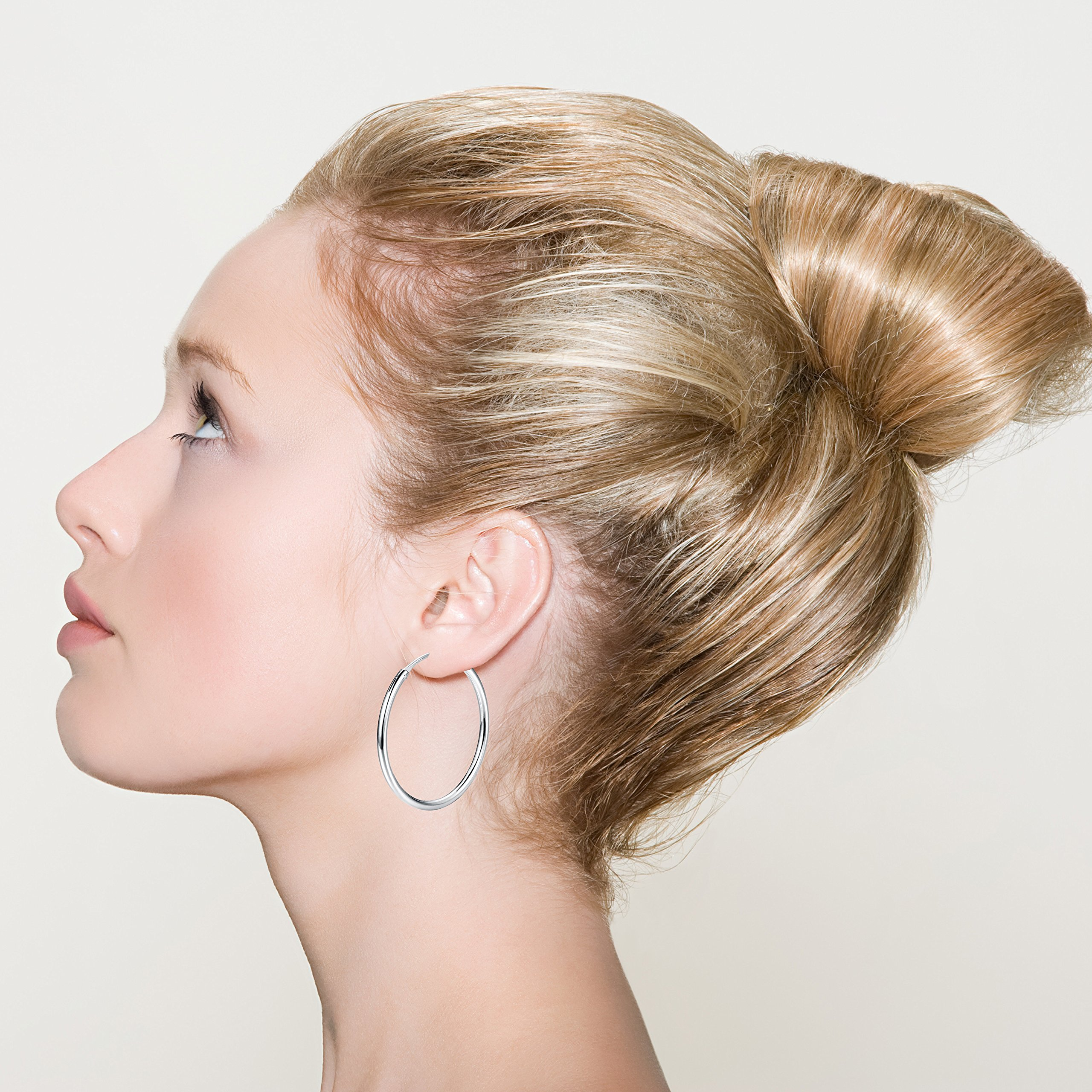FUNRUN JEWELRY 3 Pairs Sterling Silver Hoop Earrings for Women Men Round Earrings Set 10-40MM (B: Platinum-Plated 3 Pairs: 20MM/30MM/40MM) by FUNRUN JEWELRY (Image #2)