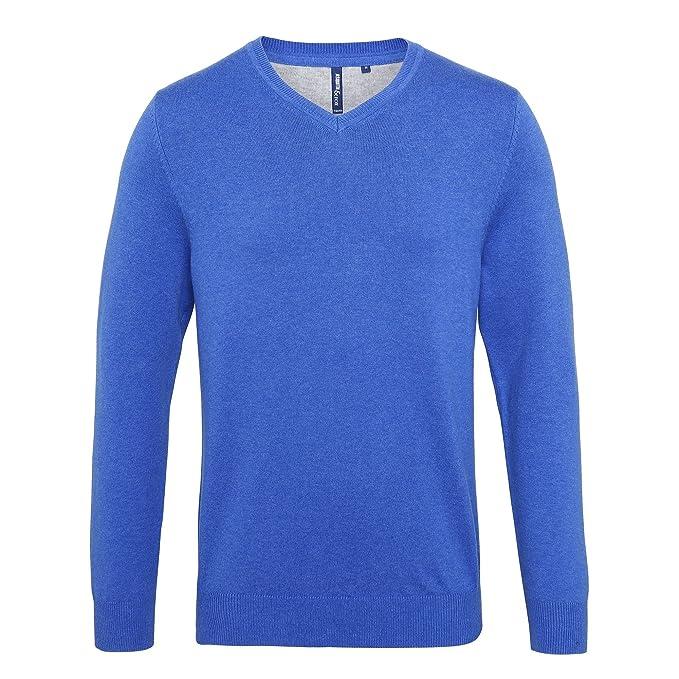 Asquith & Fox - Sudadera con cuello en V para hombre (S/Azul)