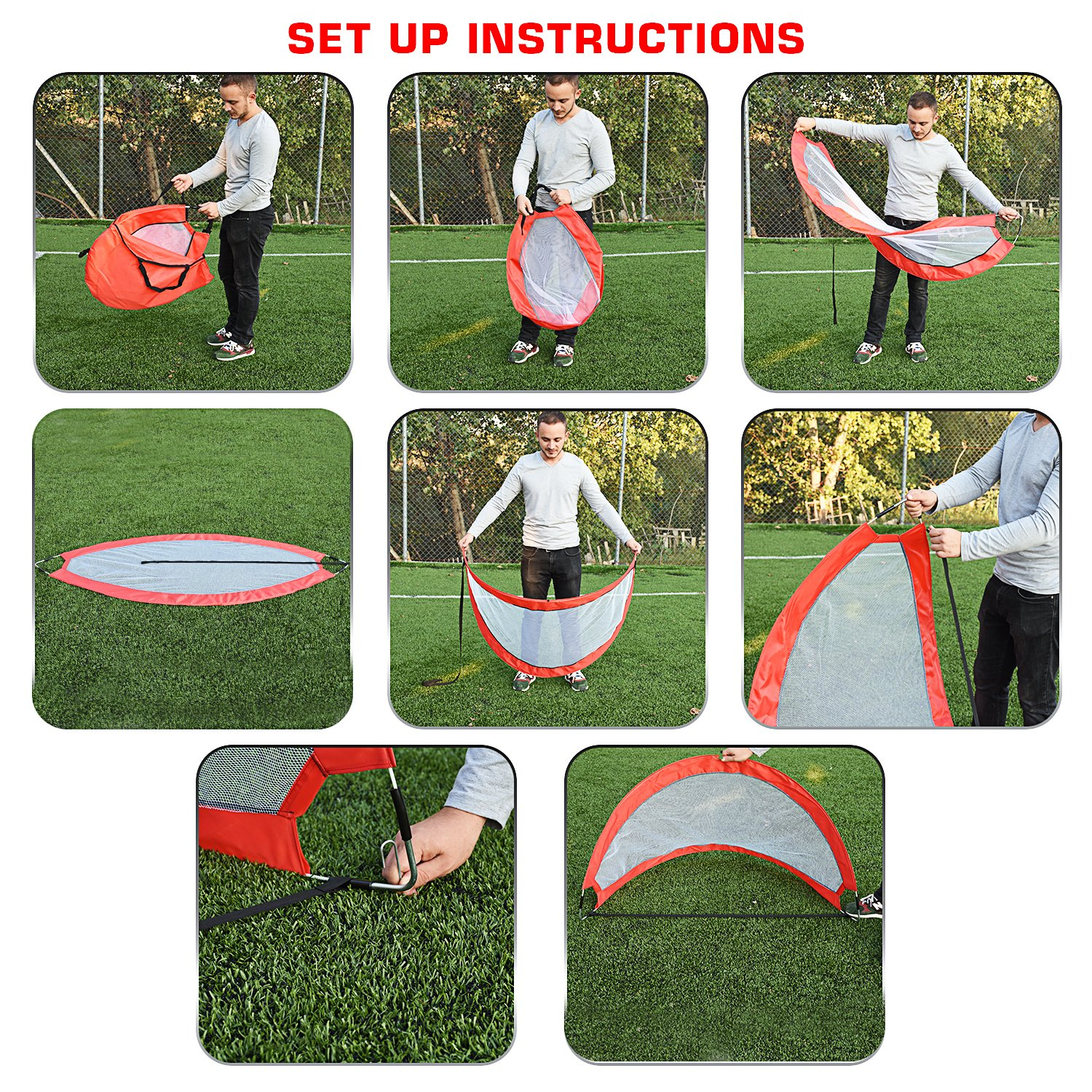 Abco Tech Portable Soccer Goal Set for Training, Practice & Game – Pop-up Soccer Net – 2 Soccer Goals, 6 Disc Cones & 8 Spikes – Carry Bag – Easy to Assemble & Store – Be it Backyard or Public Fields by Abco Tech (Image #3)