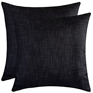 The White Petals Black Throw Pillow Covers for Sofa, Couch & Bed (16x16 inch, Pack of 2)