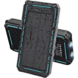 Solar Charger 13500mAh,WBPINE Solar Powered Charger Waterproof Dual USB Battery Pack with 2 LED Flashlight for Cell Phone and More(blue)
