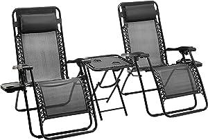 AmazonBasics Zero Gravity Chair with Side Table, Set of 2, Black