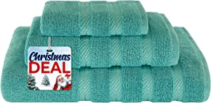 American Soft Linen Premium, Luxurious & Complete Set of 3 Piece Towel Set for Kitchen and Bathroom, Cotton for Maximum Softness and Absorbency, Turquoise Blue