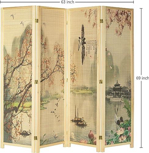 MyGift 4-Panel Asian-Inspired Bamboo-Screen Cherry Blossom Scene Room Divider