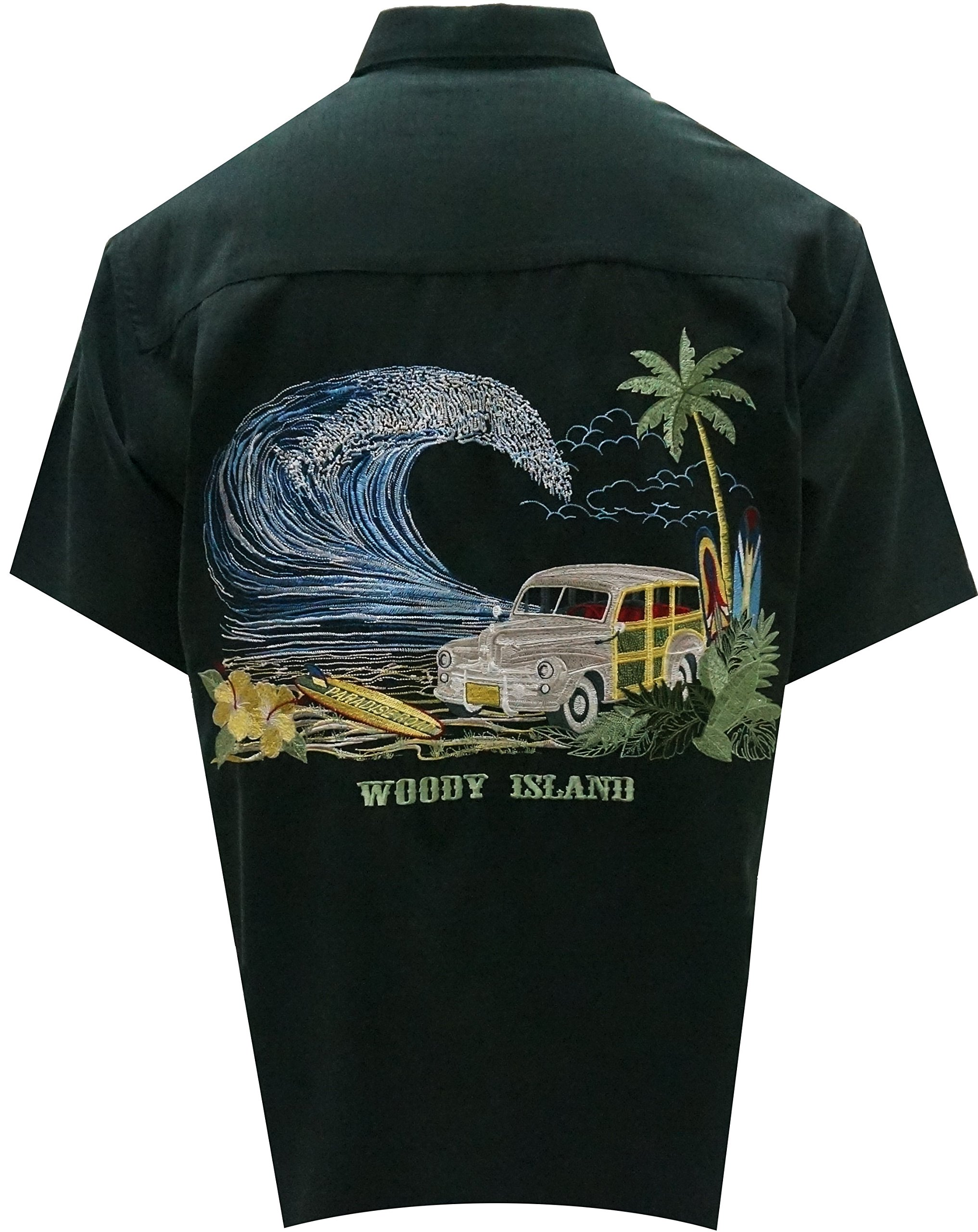 Bamboo Cay Men's Tropical Style Woody Island Button Front Embroidered Hawaiian Shirt (X-Large, Black)