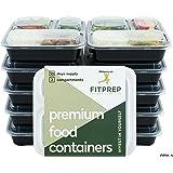 FITPREP Original 3 Fach Meal Prep Container [10er Pack] | Modell 2018 | Stabil, Verstärkt, Qualitativ Hochwertig | Kompakt, platzsparend und dennoch 1 Liter Volumen