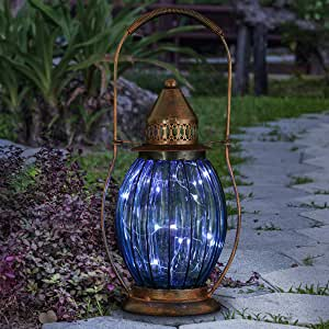 "Exhart Solar Blue Glass Antique Lantern w/ 15 LED Firefly Lights - Vintage LED Lantern, Solar-Powered Glass Lantern, Indoor Lantern, Garden Art Solar Lantern, 5.2"" L x 6.5"" W x 14"" H"