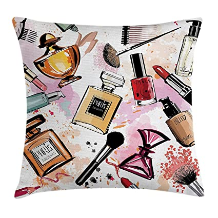 awaneders Girly Decor Throw Pillow Cushion Cover, Cosmetic Make Up Theme Pattern Perfume and Lipstick