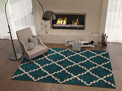 Navy Blue 9×13 9 3 x 12 6 Area Rug Trellis Morrocan Modern Geometric Wavy Lines Area Rug Living Dining Room Bedroom Resistant Carpet Contemproary Soft Plush Quality