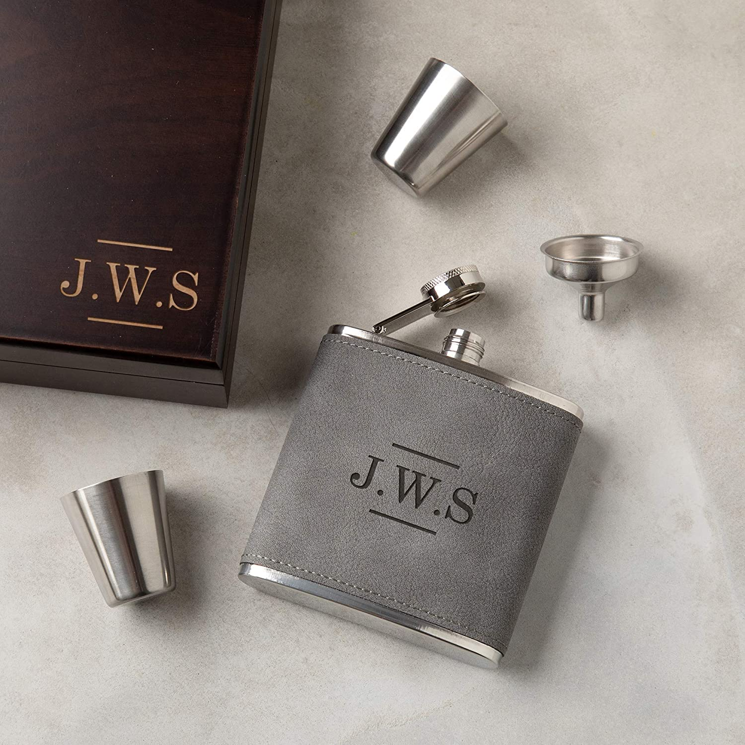 Personalised 6oz Hip Flask Funnel /& Shot Cup In Wooden Box Engraved Gift