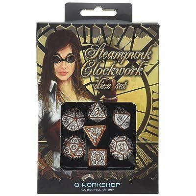 Q-Workshop Steampunk Clockwork Caramel & White Dice Set (7 Piece): Toys & Games